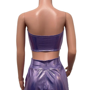 Lilac Mystique w/ Leopard Lace-Up Tube Top Bandeau - Peridot Clothing