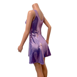 Lilac Purple Metallic Mystique A-line Mini Dress w/Pockets - Peridot Clothing