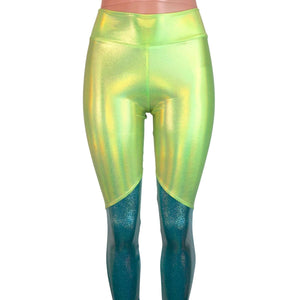 Lime Green and Jade Blue Holographic Mystique *Mid-Rise* Leggings - Peridot Clothing