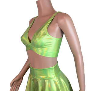 Lime Green Holographic Bralette - Peridot Clothing