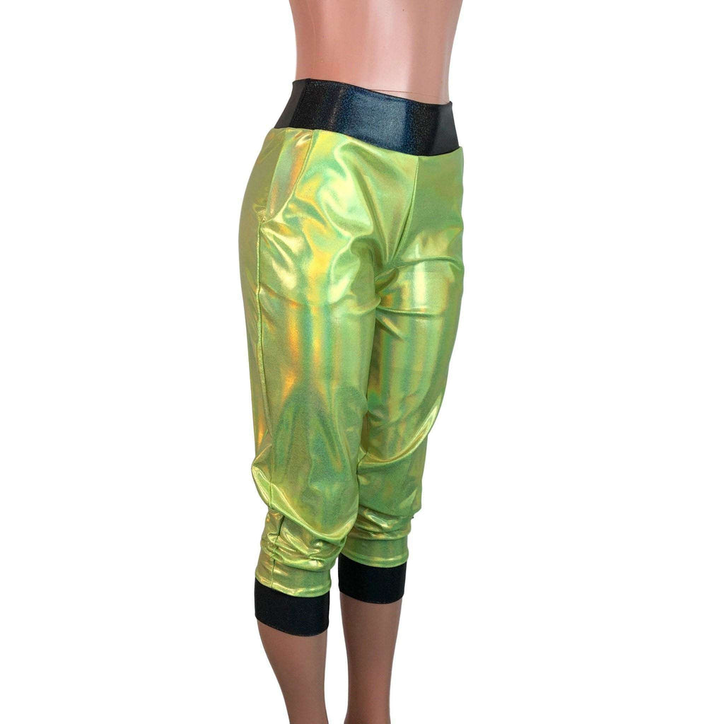 Lime W/ Black Holograph Joggers w/ Pockets - Peridot Clothing