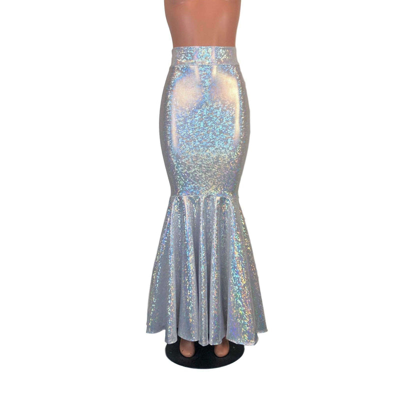 Long Mermaid Skirt - Silver on White Shattered Glass Fit n Flare Maxi Skirt - Peridot Clothing