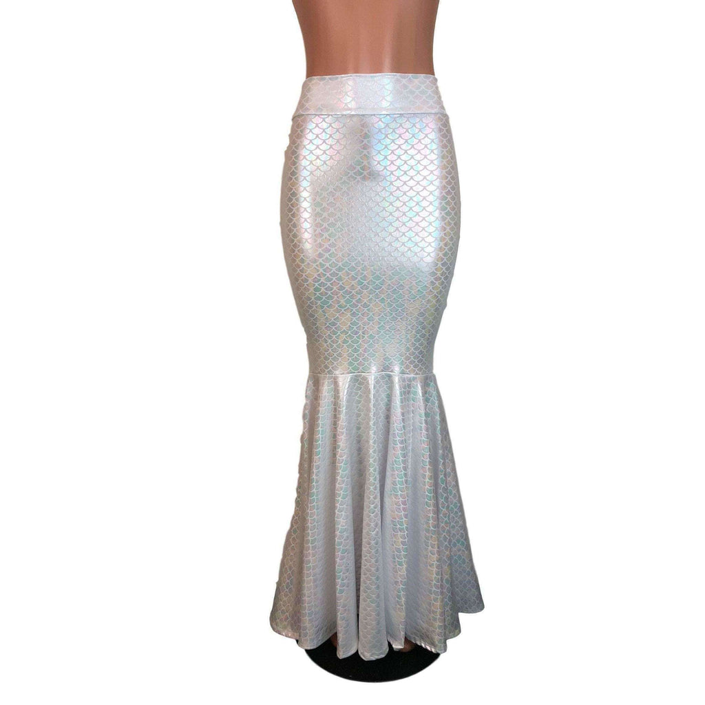 Long Mermaid Skirt - White Mermaid Scales Fit n Flare Maxi Skirt - Peridot Clothing