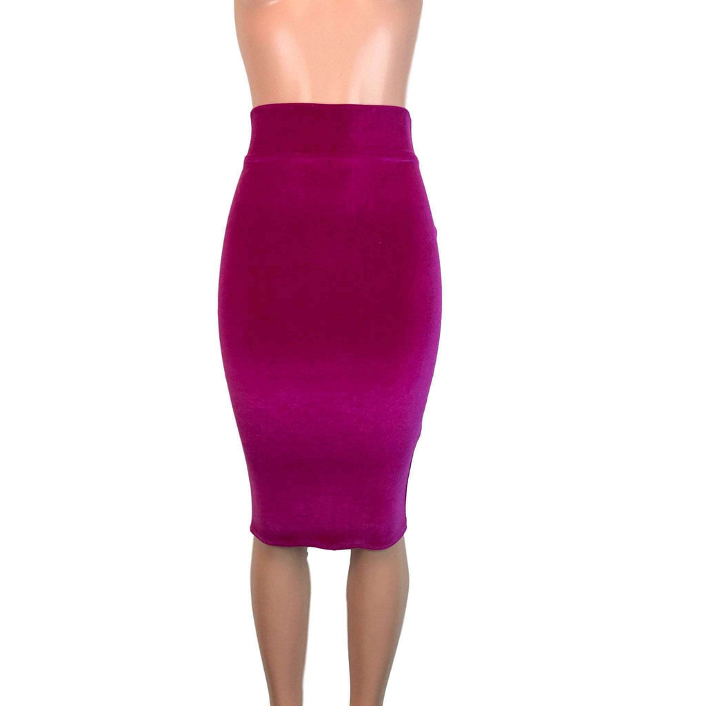 Long Pencil Skirt - Fuchsia Velvet - Peridot Clothing