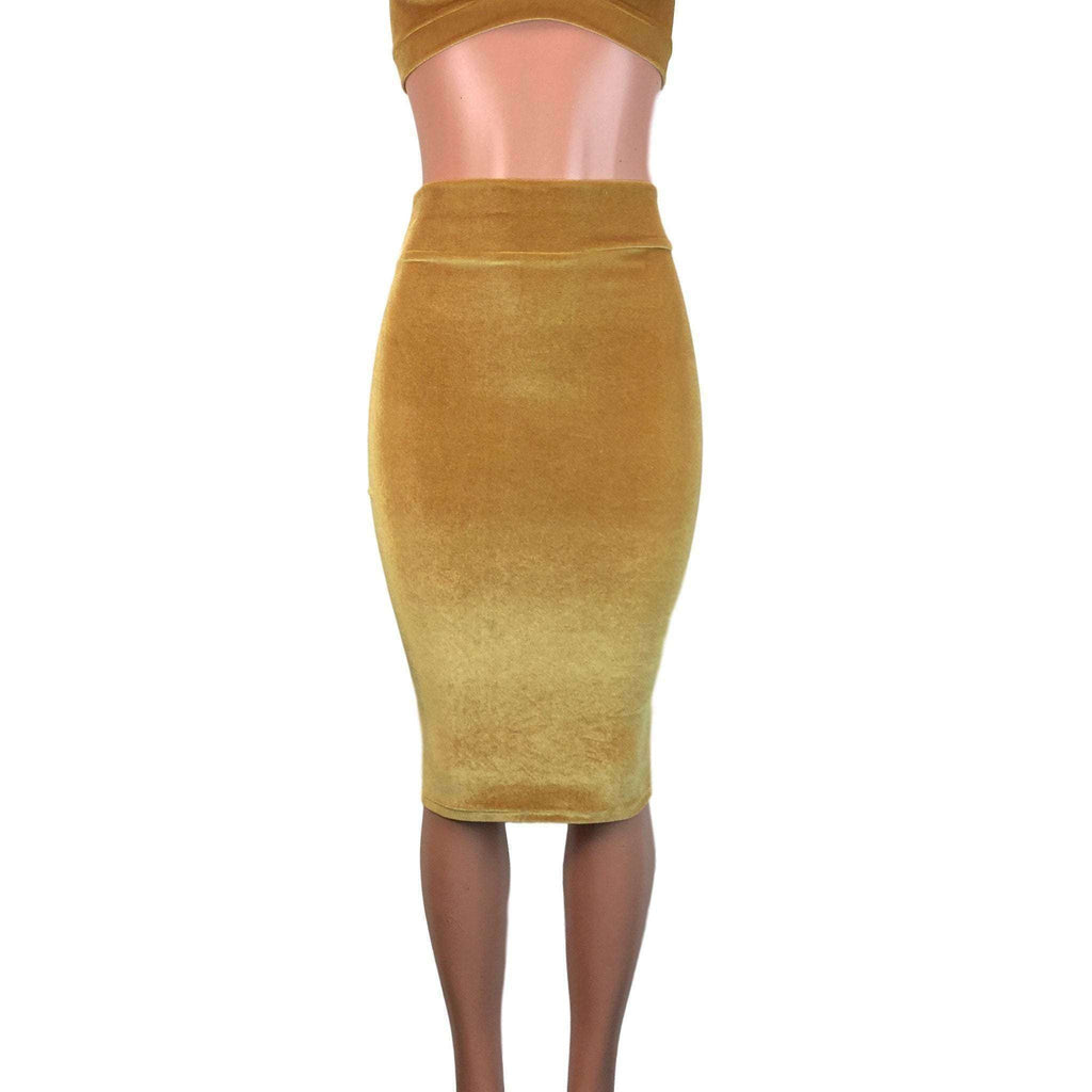 Long Pencil Skirt - Gold Velvet - Peridot Clothing