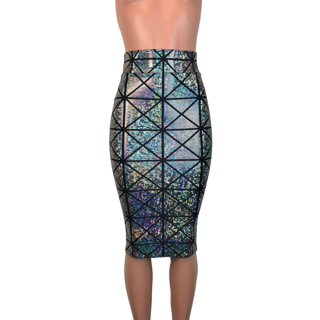 Long Pencil Skirt - Silver Glass Pane Holographic - Peridot Clothing