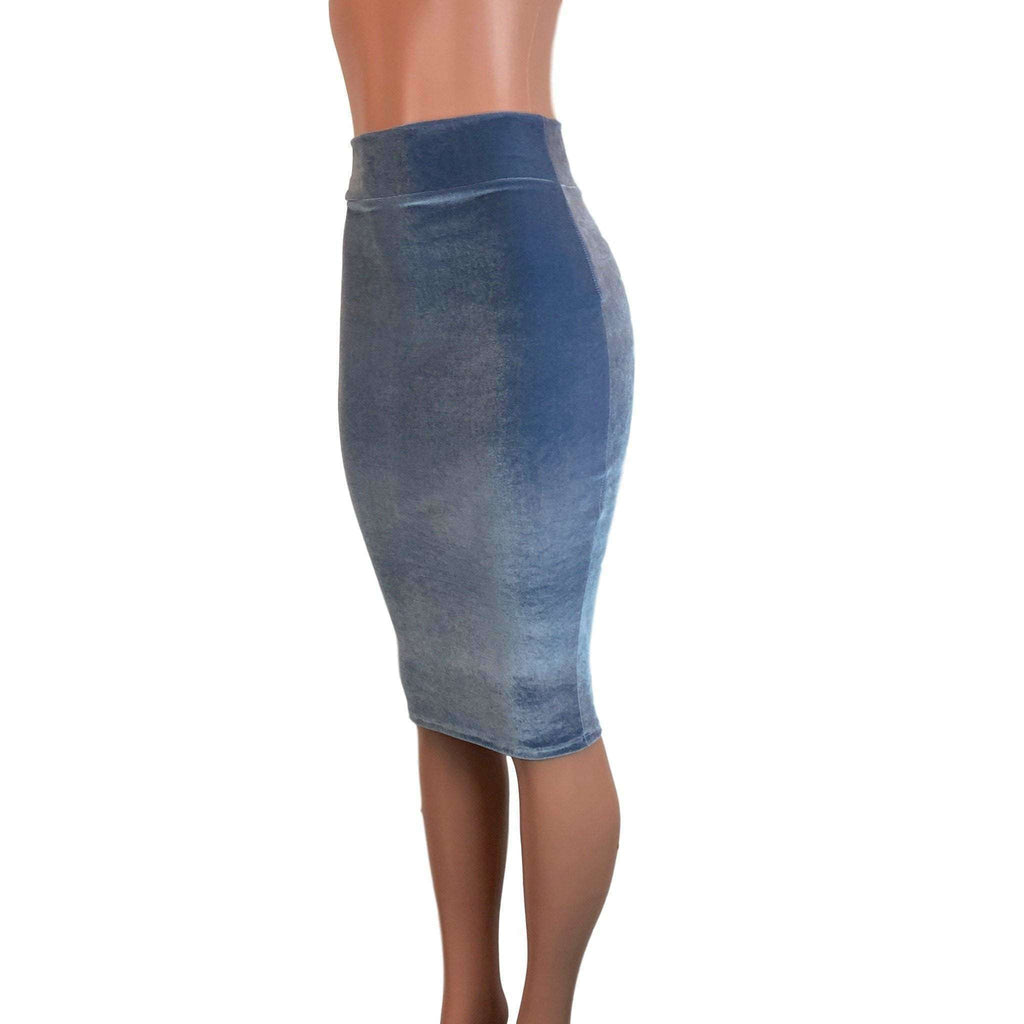 Long Pencil Skirt - Smoky Blue Velvet - Peridot Clothing