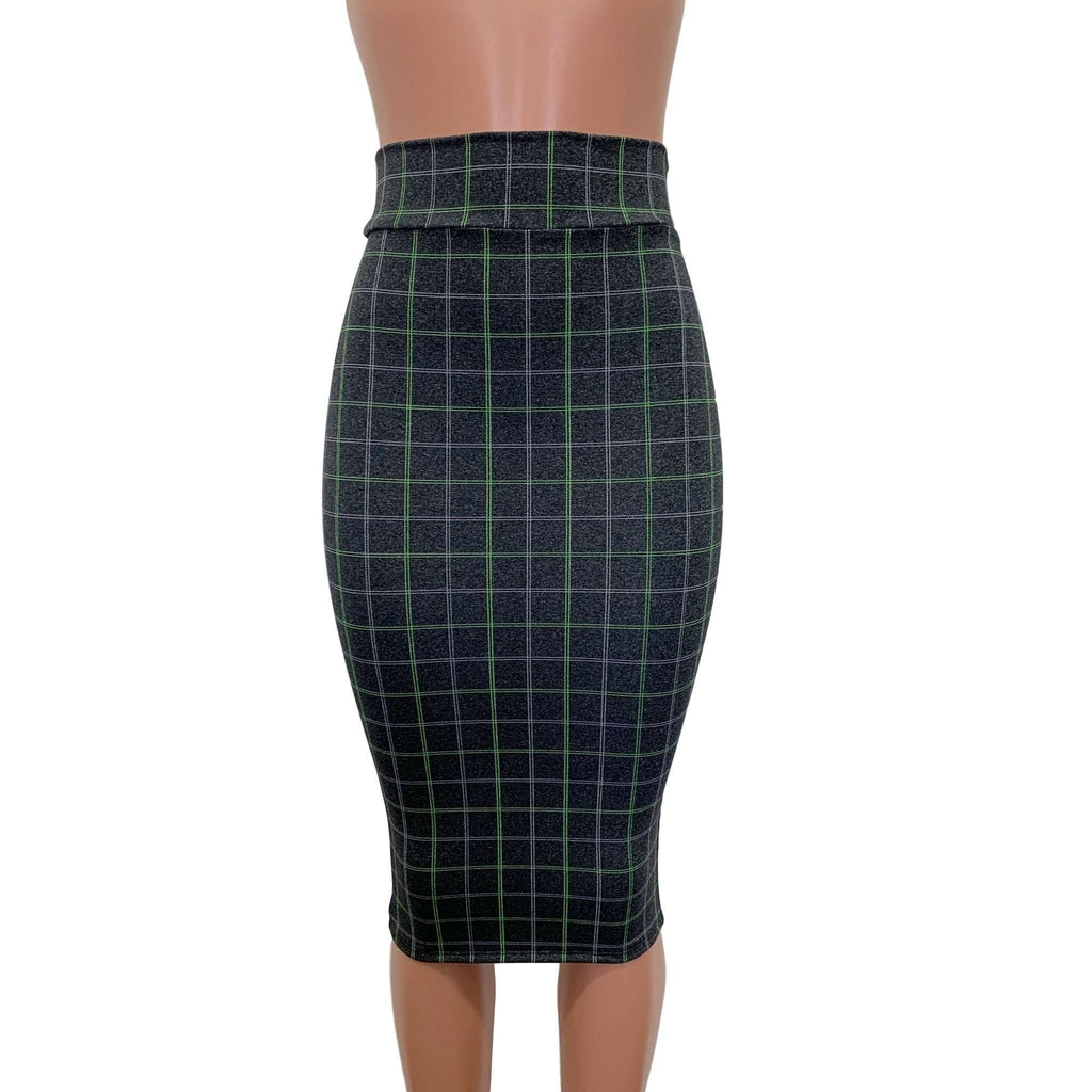 Long Pencil Skirt - Soft Gray Plaid - Bodycon Skirt - Midi Skirt - Peridot Clothing