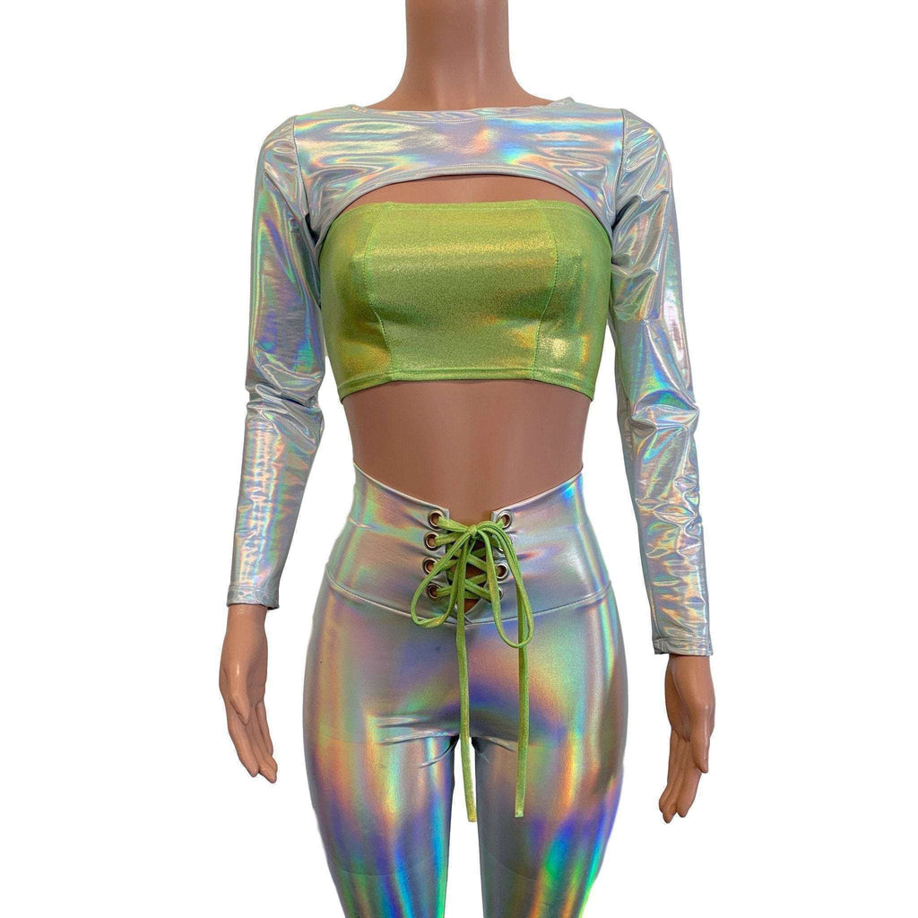 Long Sleeve Bolero Top - Opal Holographic Iridescent - Peridot Clothing