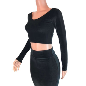 Long Sleeve Crop Top - Black Velvet - Peridot Clothing