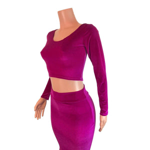 Long Sleeve Crop Top - Fuchsia Velvet - Peridot Clothing