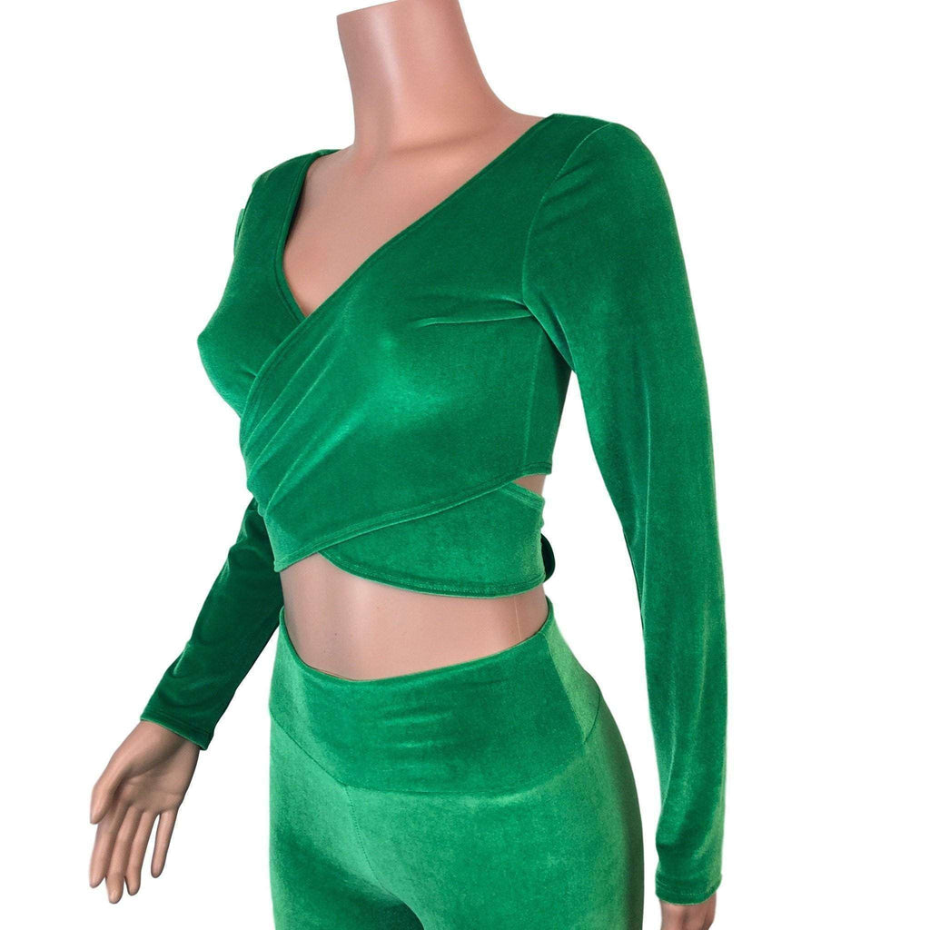 Long Sleeve Crop Wrap Top - Kelly Green Velvet - Peridot Clothing