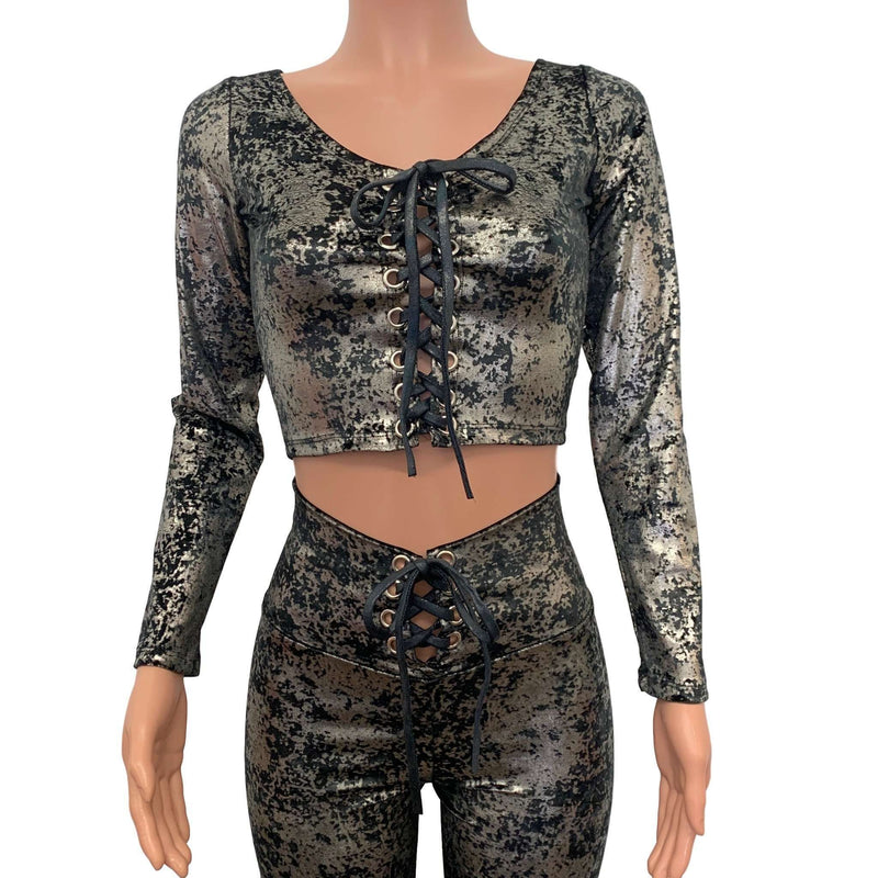 Long Sleeve Lace-Up Crop Top - Gunmetal on Black Gilded Velvet - Peridot Clothing