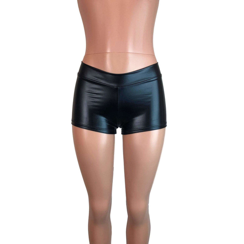 "Low Rise Booty Shorts - Black Metallic ""Wet Look"" - Peridot Clothing"