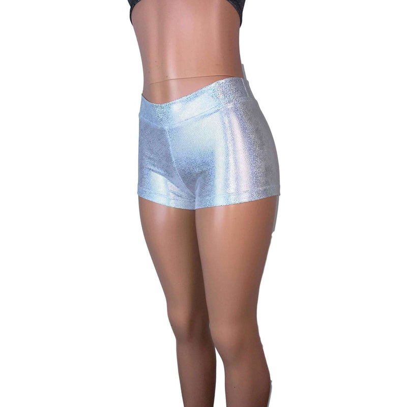 Low Rise Booty Shorts - Silver Holographic - Peridot Clothing
