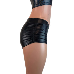 "Low-Rise Ruched Booty Shorts - Black Metallic ""Wet Look"" - Peridot Clothing"