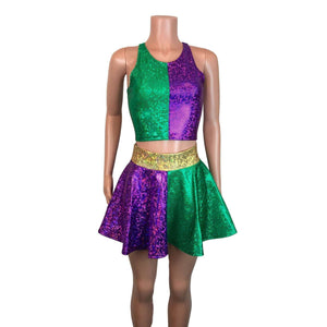 Mardi Gras Outfit - Holographic High Neck Top w/Skater Skirt - Peridot Clothing