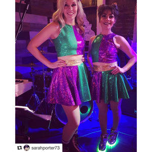 Mardi Gras Outfit - Holographic High Neck Top w/Skater Skirt, outfit