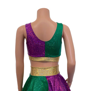 Mardi Gras Scrunch Crop Top Bralette - Peridot Clothing