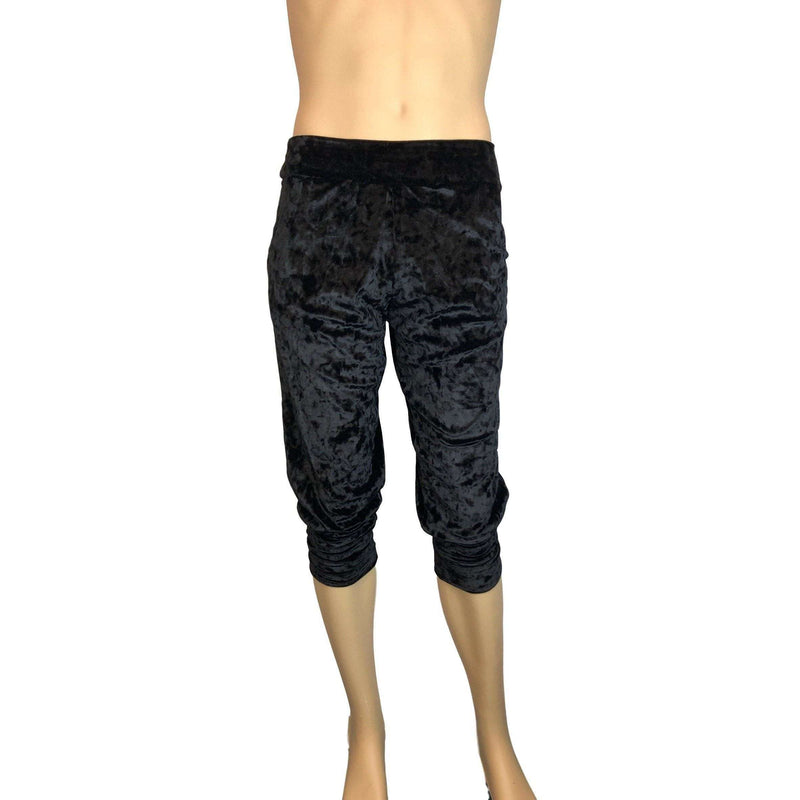 Men's Black Crushed Velvet Joggers w/ Pockets - Peridot Clothing