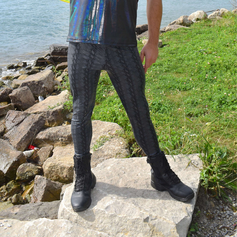 Men's Black Python Snakeskin Leggings - Peridot Clothing
