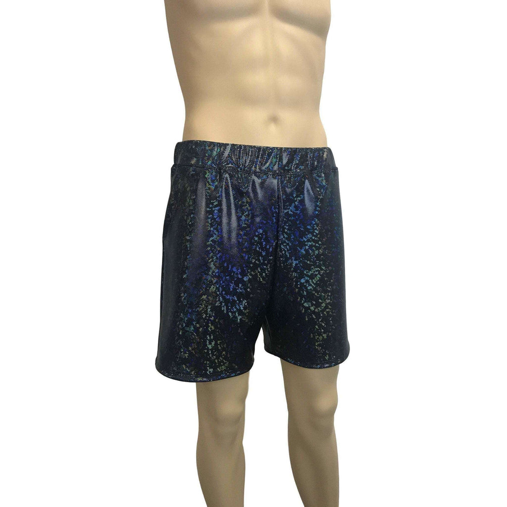 Men's Black Shattered Glass Holographic Shorts W/ Pockets - Peridot Clothing
