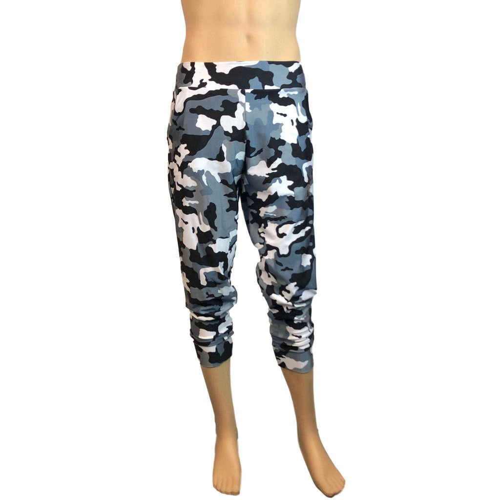 Men's Black & White Camo Camouflage Jogger Pants w/ Pockets - Peridot Clothing