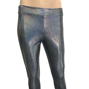 Men's Gleaming Silver Holographic Leggings, Meggings - Peridot Clothing