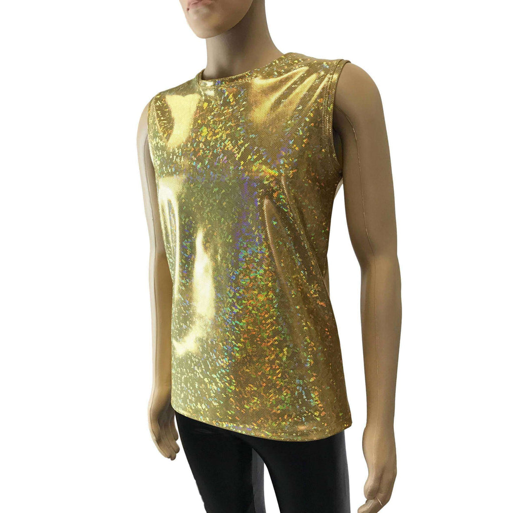 Men's Gold Holographic Shattered Glass Tank Muscle Shirt - Peridot Clothing