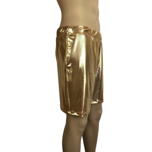 Men's Gold Mystique Metallic Shorts W/ Pockets - Peridot Clothing