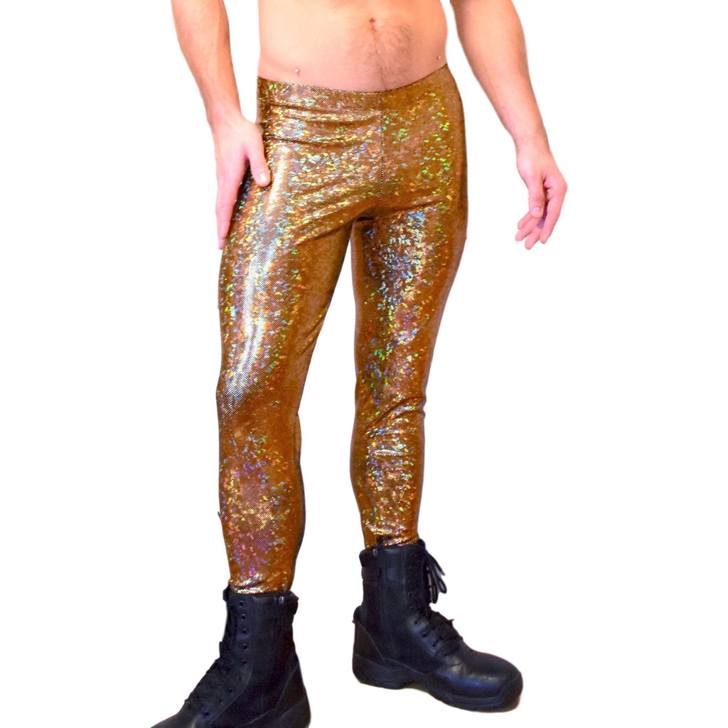 Men's Gold on Black Holographic Shattered Glass Leggings, Meggings - Peridot Clothing