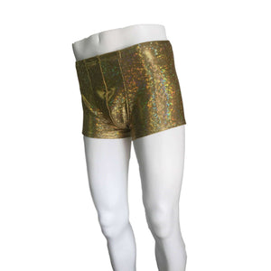 Men's Gold Shattered Glass Holographic Booty Shorts - Peridot Clothing