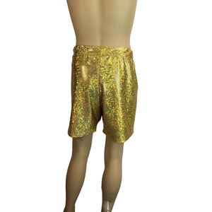 Men's Gold Shattered Glass Holographic Shorts W/ Pockets - Peridot Clothing
