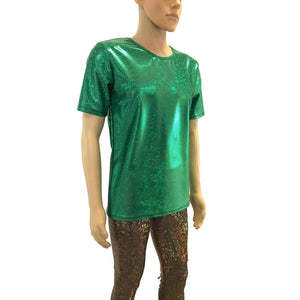 Men's Green Holographic Shattered Glass Tee or T-shirt - Peridot Clothing