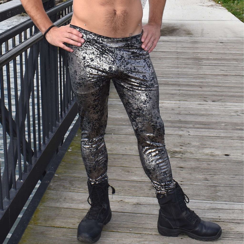 Men's Gunmetal on Black Gilded Velvet Leggings - Peridot Clothing