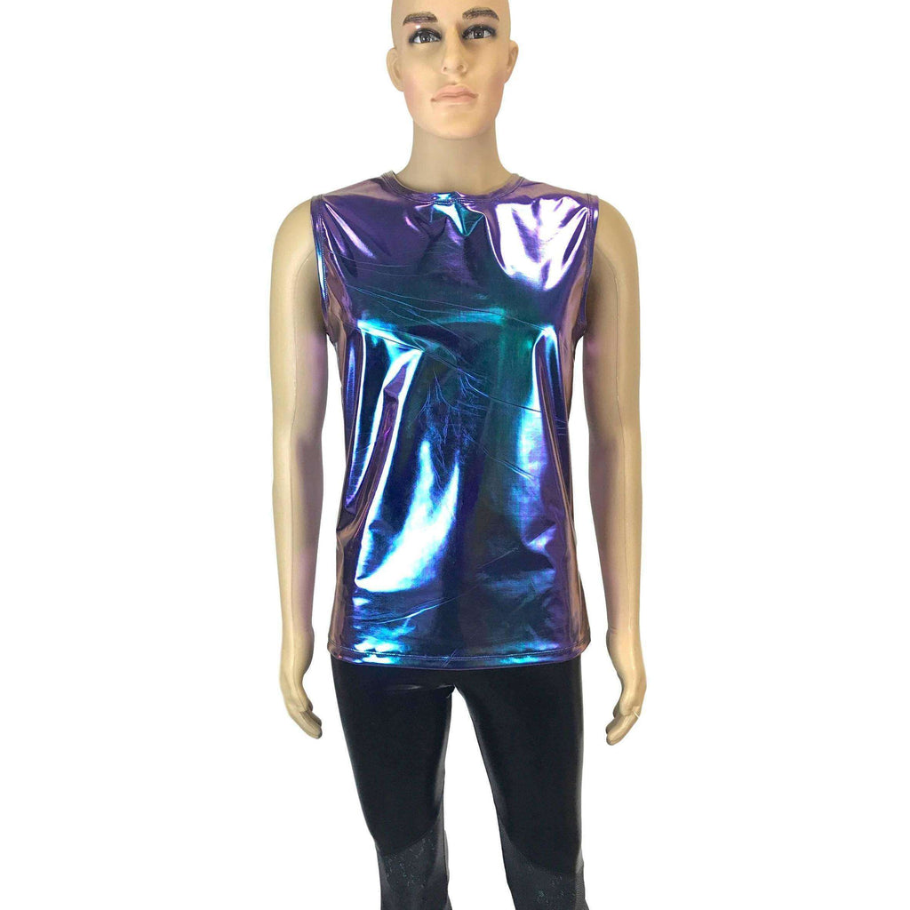 Men's Holographic Oil Slick Tank, Men's Holo Muscle Shirt - Peridot Clothing