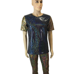 Men's Holographic Shattered Glass 2-Tone Tee or T-shirt - Peridot Clothing