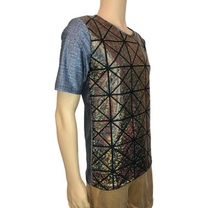 Men's Holographic Tee or T-shirt, Linen Print w/Gold Glass Pane Shattered Glass - Peridot Clothing