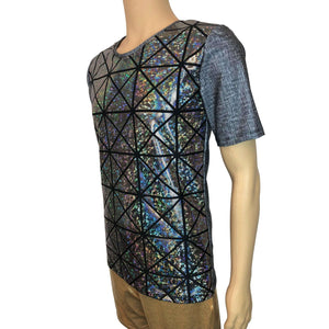Men's Holographic Tee or T-shirt, Linen Print w/Silver Glass Pane Shattered Glass - Peridot Clothing