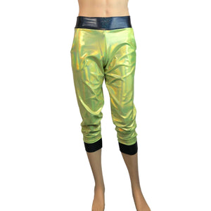 Men's Lime/Black Holographic Mystique Metallic Jogger Pants w/ Pockets - Peridot Clothing