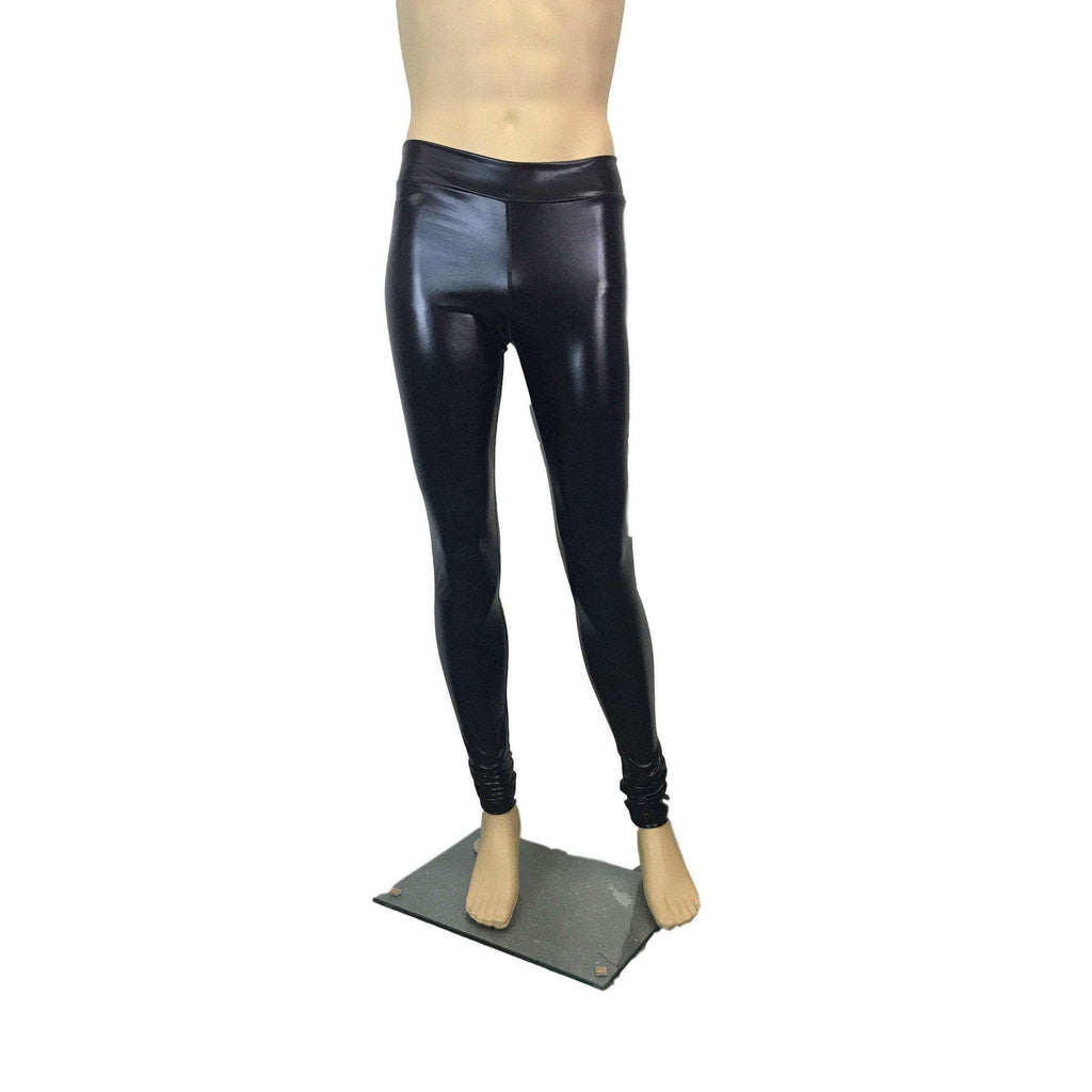 "Men's Metallic ""Wet-Look"" Black Faux-Leather Leggings, Meggings - Peridot Clothing"