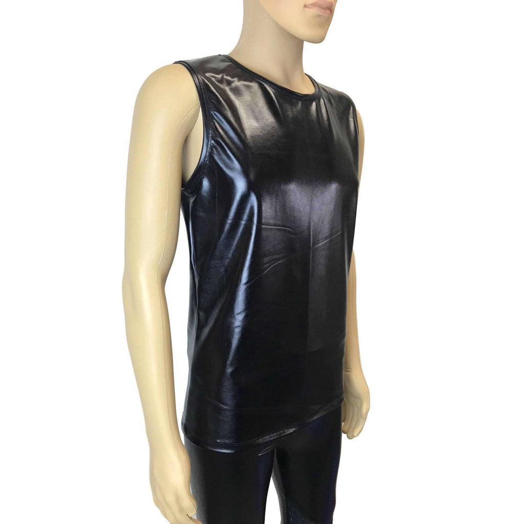 "Men's Metallic ""Wet Look"" Faux-Leather Tank, Muscle Shirt - Peridot Clothing"