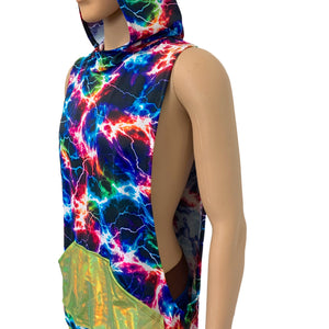 Unisex Muscle Tank Hoodie in Cosmic Thunder/Lime Holo w/Pocket Shirt - Peridot Clothing