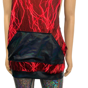 Unisex Muscle Tank Hoodie in Red Lightning Metallic/Black Holographic Pocket Shirt - Peridot Clothing