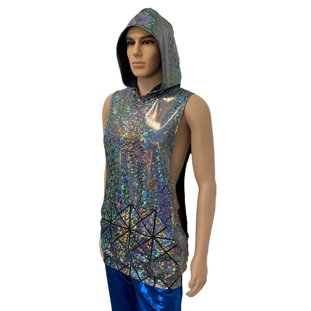 Unisex Muscle Tank Hoodie in Silver Shattered Glass/Glass Pane Pocket Shirt - Peridot Clothing