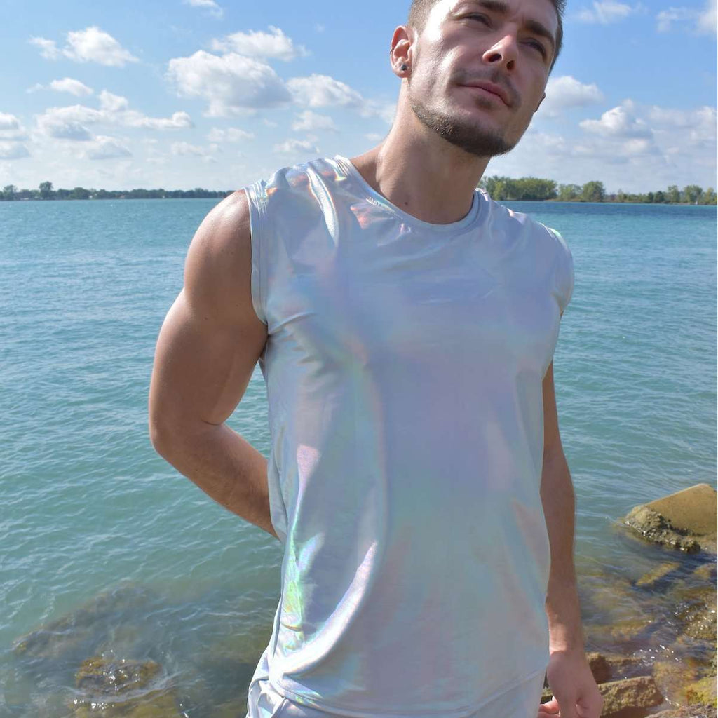 Men's Opal Holographic Tank, Muscle Shirt - Peridot Clothing