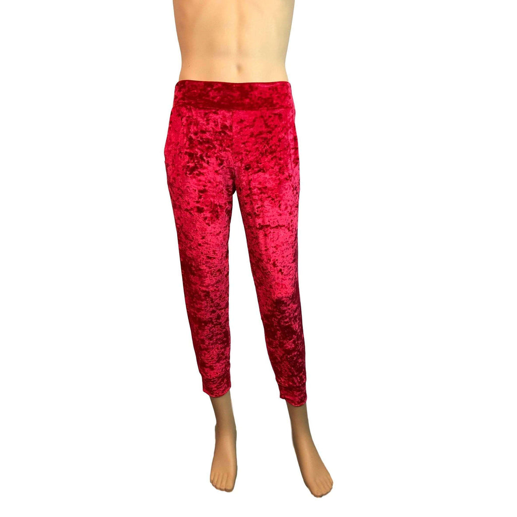 Men's Red Crushed Velvet Jogger Pants w/ Pockets - Peridot Clothing