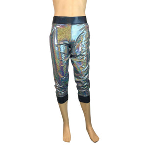 Men's Silver/Black Holographic Mystique Metallic Jogger Pants w/ Pockets - Peridot Clothing