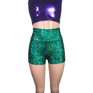 Mermaid Costume - green mermaid scales Booty Shorts and purple crop top outift - Clubwear, Rave Wear, Mini Circle Skirt - Peridot Clothing