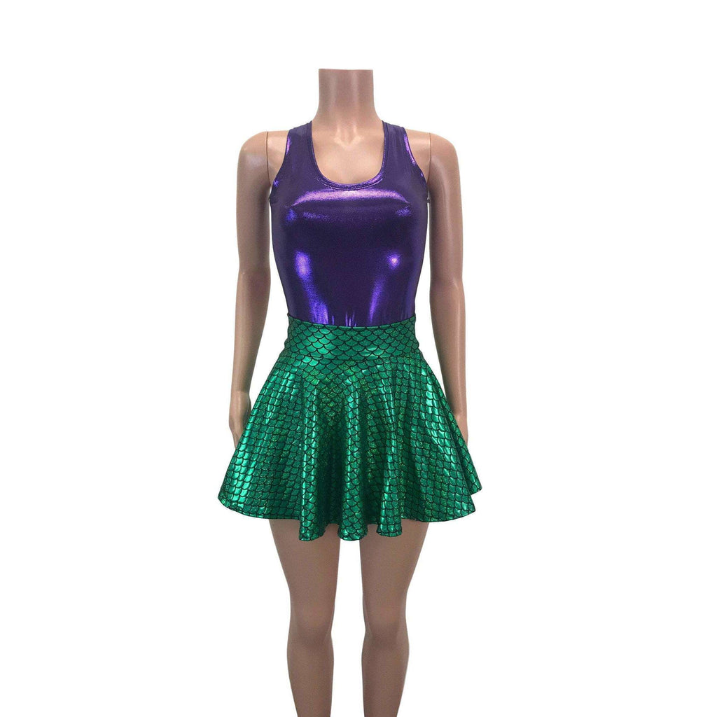 Mermaid Costume - Green Mermaid Scales Skater Skirt & Purple Tank Outfit - Rave Costume, Cosplay - Peridot Clothing